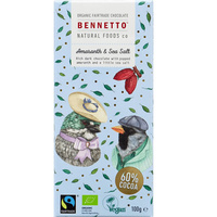 Bennetto Dark Chocolate Amaranth & Sea Salt (Organic)~ 100g