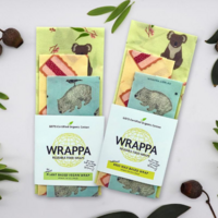 Wrappa Koala on the Go Beeswax Wrap ~ 3 Pack (2 x Med & 1 x Lge)