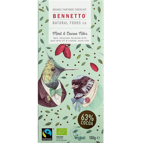 Bennetto  Dark Chocolate Mint & Cacao (Organic) ~ 100g