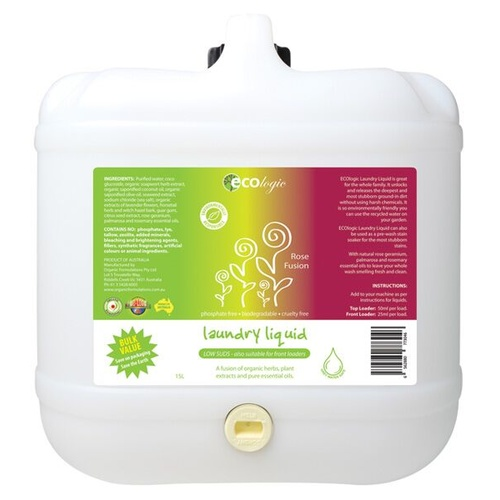Ecologic Tile & Floor Cleaner Rose Geranium ~ Bulk Value 15L