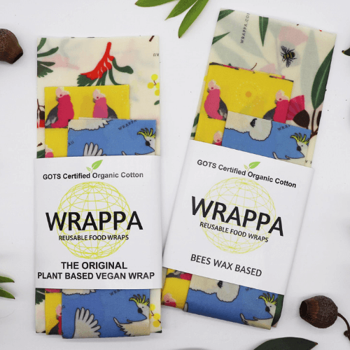 Wrappa Birds and Bees Vegan Wrap ~ 3 Pack (2 x med & 1 x Lrg)